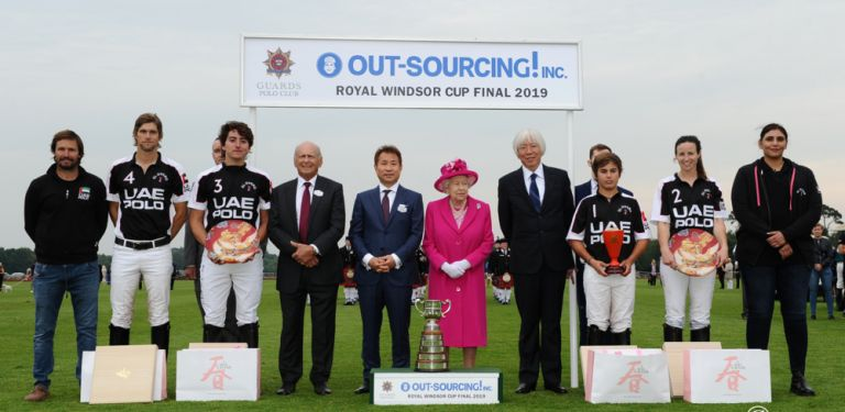 HM The Queen, Haruhiko Doi, David Matsumoto and Brian Stein with the UAE Polo team, winners of the OUT-SOURCING Inc. Royal Windsor Cup.JPG
